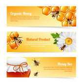 Honey bee banners — Stock Vector