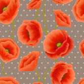 Poppy seamless wallpaper — Stock Vector