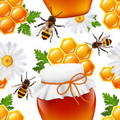 бесшовный узор мед — Cтоковый вектор