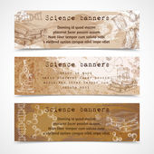 Science sketch vintage banners — Stock Vector