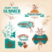 Summer vacation marine sea emblems setŒ — Stock Vector