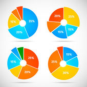 Pie Chart Icons Flat — Stock Vector