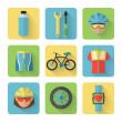 Bicycle Flat Icons Set — Stock Vector