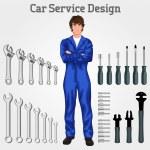 Young man mechanic — Stock Vector