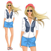 Blond hipster girl — Vector de stock