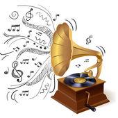 Music doodle gramophone — Stock Vector