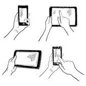 Hands touchscreen sketch set — Stock Vector