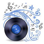 Music doodle vinyl — Stock Vector