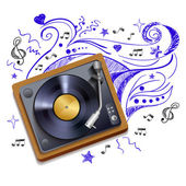 Music doodle vinyl record player — Stock Vector