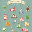 Toys stickers vintage collection — Stock Vector
