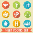 Meet business partners icons set — Stock Vector #45787521