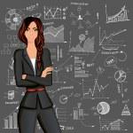 expérience en affaires femme doodle — Vecteur #45787677