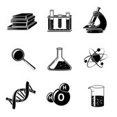 Science Black Icons Set — Stock Vector