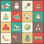 Toys Flat Icons Set — Stock Vector