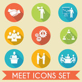 Meet business partners icons set — Stock Vector