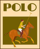 Polo player on horse poster — Stock Vector