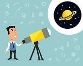 Astronomer with telescope print — Stock Vector