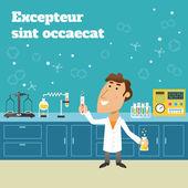 Scientist in lab — Stock Vector