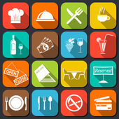 Restaurant Food Icons Flat — Stock Vector