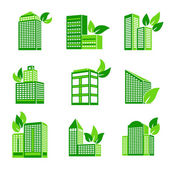 Building eco icon — Stock Vector