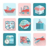 Logistic Flat Icons — Stock Vector