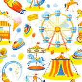 Amusement park seamless pattern — Stock Vector