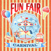 Vintage carnival poster template — Stock Vector