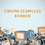 Cinema sketch seamless border — Stock Vector