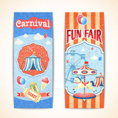 Vintage carnival banners vertical — Stock Vector