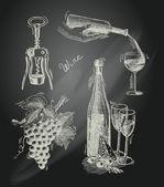 Wine chalkboard decorative set — Stock Vector