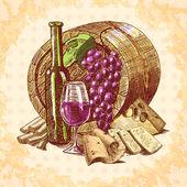 Wine cheese emblem — Stock Vector