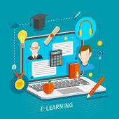 E-learning concept flat — Stock Vector