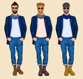 Hipster man set — Stock Vector