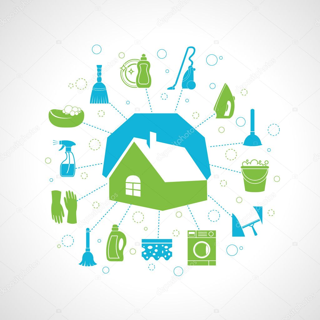 House Cleaning Vector Cleaning washing concept with house and ...