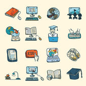 Online Education Icons Sketch — Stock Vector