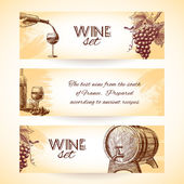 Wine sketch banners — Stock Vector