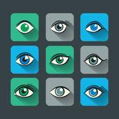 Olhos ícones set plana — Vetor de Stock
