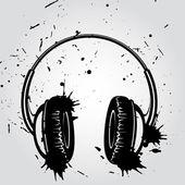 Headphones grunge style — Stock Vector
