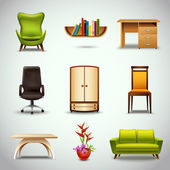 Furniture Realistic Icons — Stock Vector