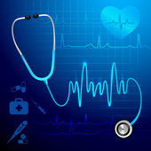 Stethoscope heartbeat background — Stock Vector