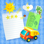 Toy truck paper postcard template — Stock Vector