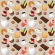 Coffee and sweets seamless background — Stock Vector #46549215