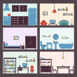 Interiors set flat — Stock Vector