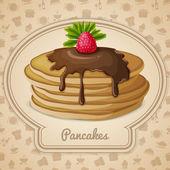 Baked pancakes emblem — Stock Vector