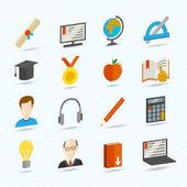 E-learning ploché ikony — Stock vektor