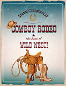 Rodeo poster colored — Stock Vector
