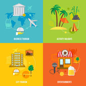 Building tourism concepts flat — Stock Vector