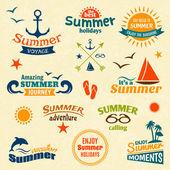 Summer element label set — Stock Vector