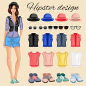 Hipster girl elements — Stock Vector