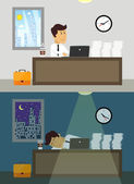 Office worker day and night — Stock Vector